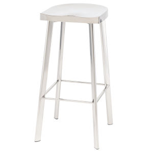 Icon Polished Silver Bar Stool