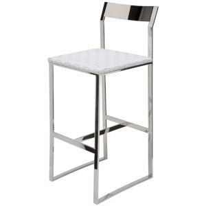 Camille White and Silver Counter Stool