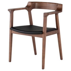 Caitlan Walnut and Black Dining Chair