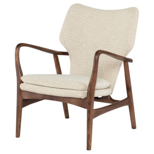 Patrik Beige and Walnut Occasional Chair