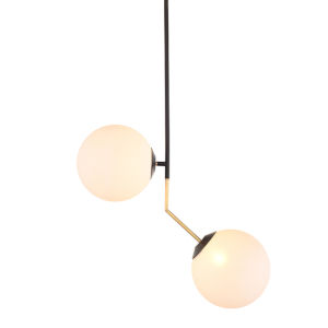 Declan White and Black Two-Light Pendant