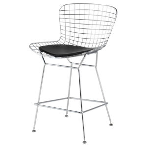 Wireback Black and Silver Counter Stool