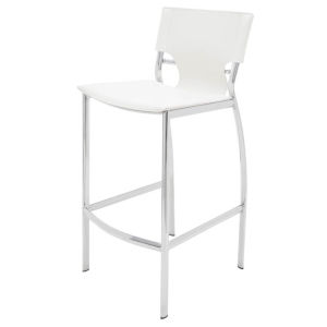 Lisbon White and SIlver Bar Stool