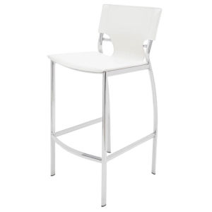 Lisbon White and Silver Counter Stool