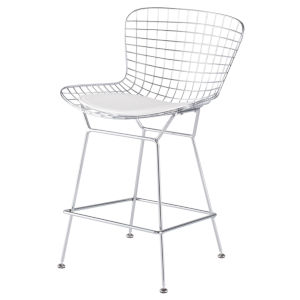 Wireback Matte White Counter Stool
