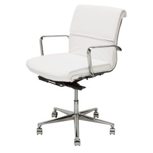 Lucia White and Silver Office Chair