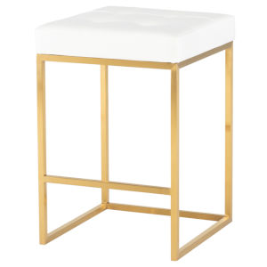 Chi White and Gold Counter Stool