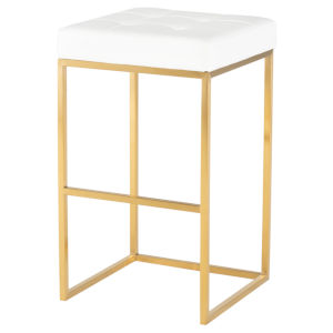 Chi White and Gold Bar Stool