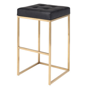 Chi Matte Black and Gold Bar Stool