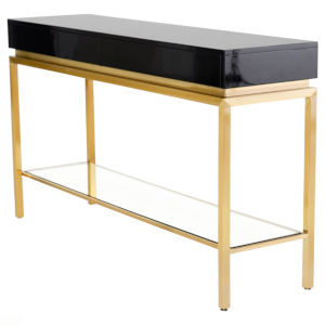 Isabella Polished Black and Gold Console Table