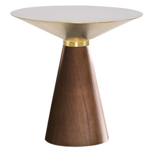 Iris Gold and Walnut Round Side Table