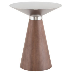 Iris Brushed Silver and Walnut Side Table