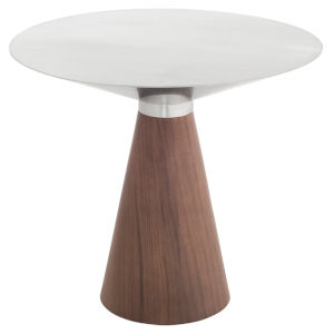 Iris Brushed Silver and Walnut Round Side Table