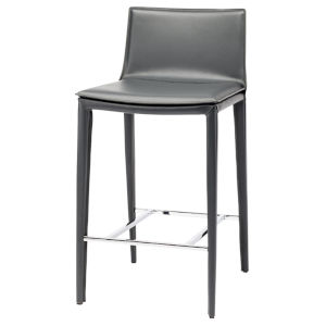 Palma Dark Gray and Silver Counter Stool