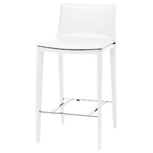 Palma White and Silver Counter Stool