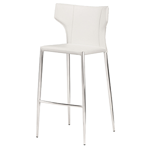 Wayne Matte White and Silver 42-Inch Bar Stool