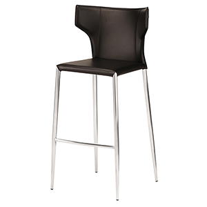 Wayne Matte Black and Silver 38-Inch Counter Stool
