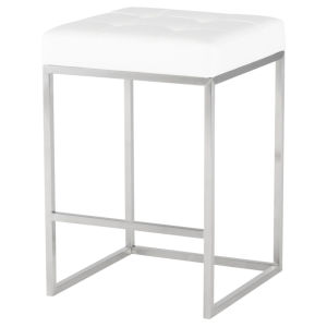 Chi White and Silver Counter Stool