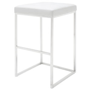 Chi White and Silver Bar Stool