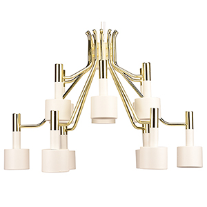 Chloe Matte White and Gold 12-Light Chandelier