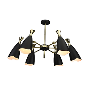 Cella Matte Black and Gold Six-Light Chandelier