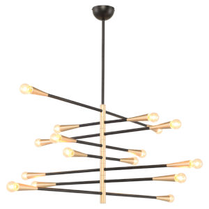 Orion 8 Matte Black and Gold 16-Light Pendant