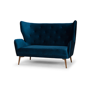 Klara Matte Midnight Blue Double Seat Sofa