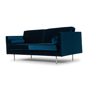 Cyrus Matte Midnight Blue Triple Seat Sofa