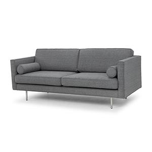 Cyrus Matte Grey Tweed Triple Seat Sofa