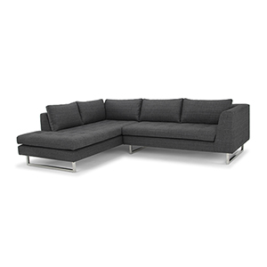 Janis Matte Dark Grey Tweed Sectional with Left Facing Chaise