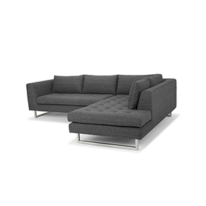 Janis Matte Dark Grey Tweed Sectional with Right Facing Chaise