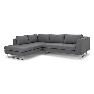 Janis Matte Shale Grey Sectional with Left Facing Chaise