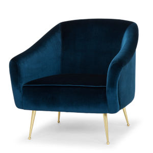 Lucie Midnight Blue and Gold Occasional Chair