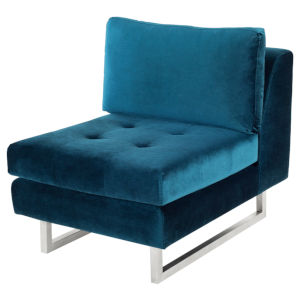 Janis Midnight Blue and Silver Armless Sofa Extension