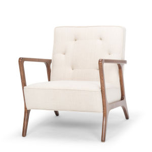 Eloise Off White and Walnut Occasional Chair
