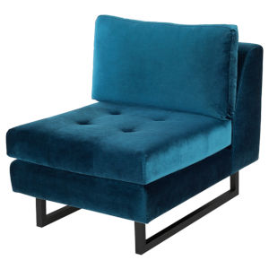 Janis Midnight Blue and Black Armless Sofa Extension