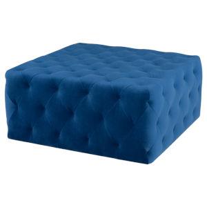 Tufty Sapphire Blue Square Ottoman