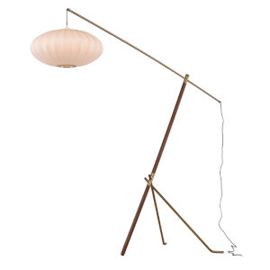 Osaka White and Walnut One-Light Floor Lamp