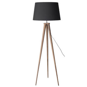Triad Matte Black and Walnut One-Light Floor Lamp