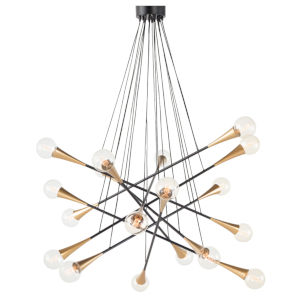 The Galaxy Black and Brass 18-Light Pendant
