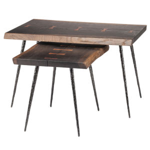 Nexa Brown and Black Side Table, Set of 2