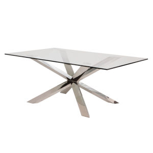 Couture Clear and Silver Dining Table