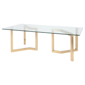 Paula Clear and Gold Dining Table