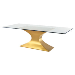 Praetorian Clear and Brushed Gold Dining Table