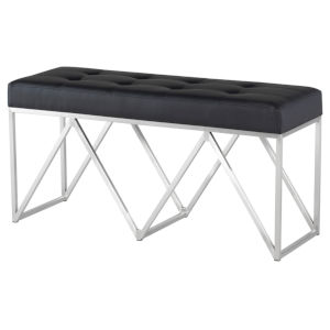Celia Matte Black and Silver Bench