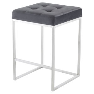 Chi Tarnished Silver and Stainless Steel Counter Stool