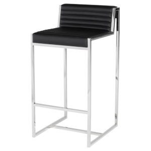 Zola Matte Black and Silver Bar Stool