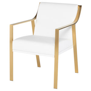 Valentine White and Gold Dining Chair