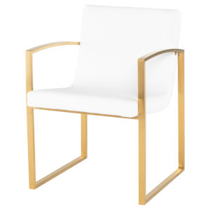 Clara White and Gold Dining Chair