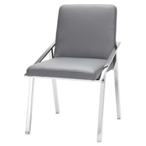 Nika Matte Gray and Silver Dining Chair